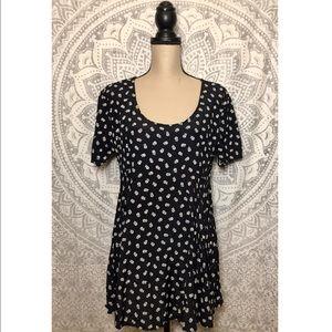 VTG 90s Floral Babydoll Black White Grunge Dress